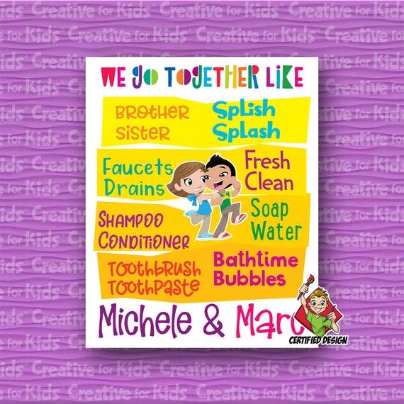 Brother & Sister Bathroom Wall Art 01 Sibling Wall Art Kids