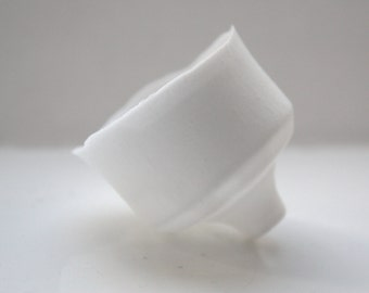 Japanese inspired small ornamental cup handmade from snow white English fine bone china