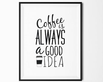 Affiche à texte Coffee is always a good idea - à télécharger