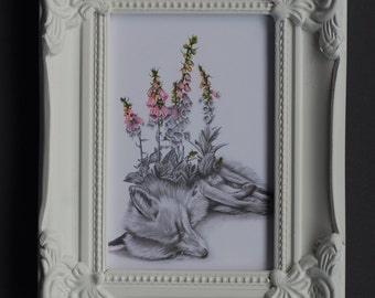 NEW Beautiful Death Fox with Foxgloves in Matt White Ornate Frame