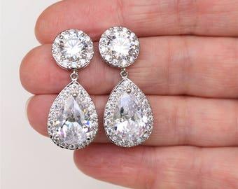 Crystal Teardrop Earrings , Art Deco Earrings, Vintage Style Earrings, Bridal Earrings, Wedding Earrings, Bridesmaid Earrings