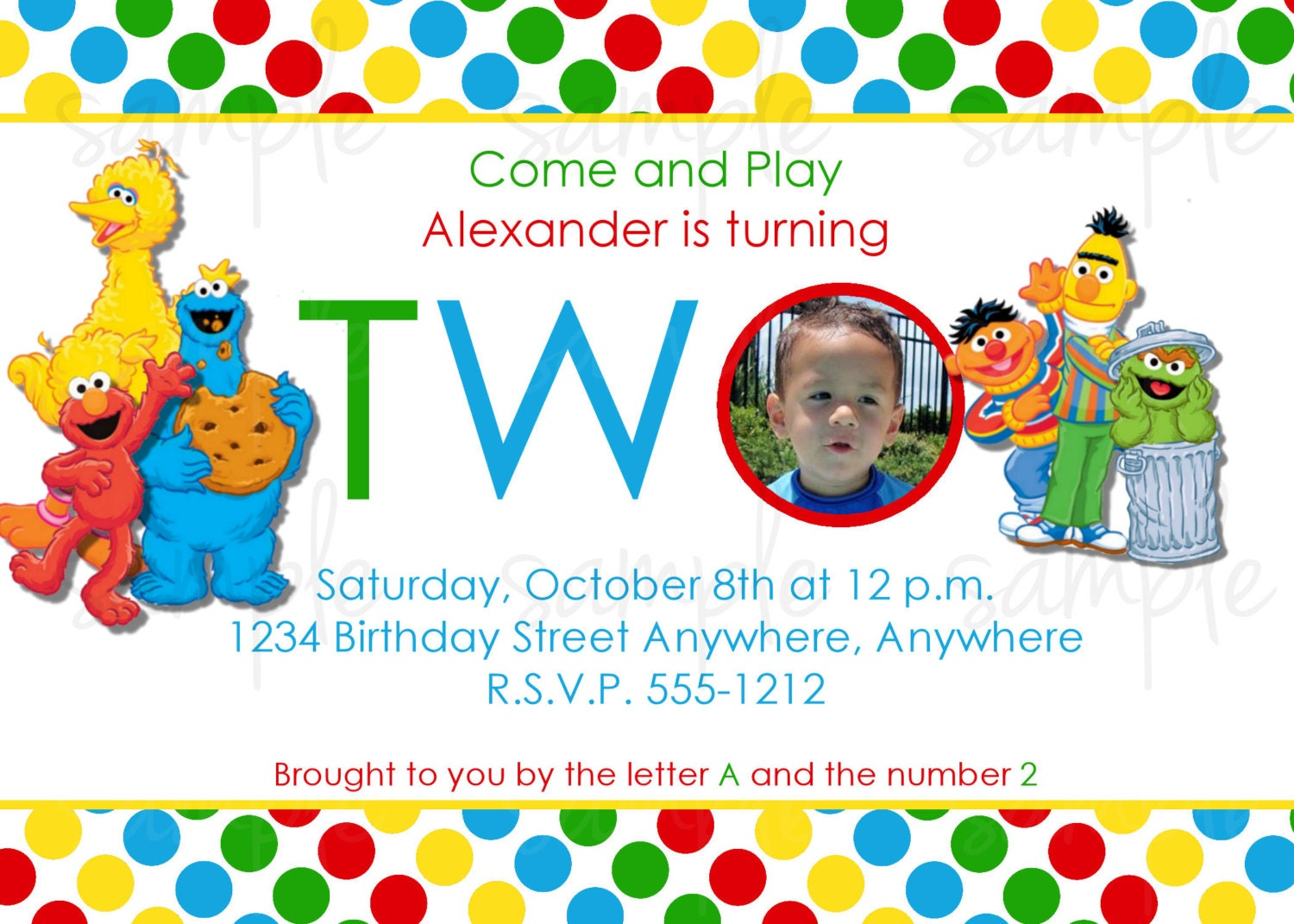 Sesame Street Birthday Invitation Elmo Birthday Invitation