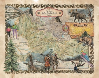 174 Ski Runs of Big Sky Mountain Resort Montana vintage historic antique map poster print by Lisa Middleton