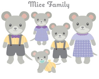 Animal Clipart - Mice Family Clip art - Mouse Clipart -  Animal Family Clipart - Cute Animals