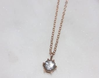 Small White Topaz Necklace in 14k Rose gold, 6 Prong, Bridal Jewelry, Minimalist Pendant, Delicate Necklace, Birthstone