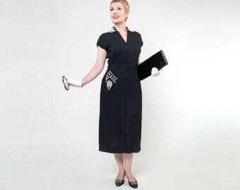 50s Black Linen-like Sheath Dress with White Beaded Details - D.R.A. Original M