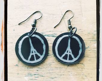 Love for Paris, France. Fight Against Terror, Help the Country, (Black with White Logo) Eiffel Tower Earrings: Illustration by Jean Jullien