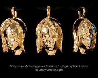 Michelangelo's Pietà, detail of Mary necklace pendant