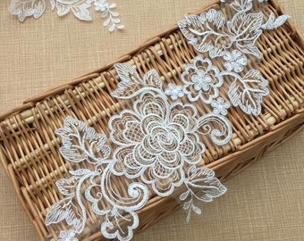 1 Pair Ivory Peony Lace Applique Collar Altered Clothing Sewing Bridal Headwear Wedding