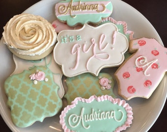 Shabby Chic Baby Shower Cookies / One Dozen