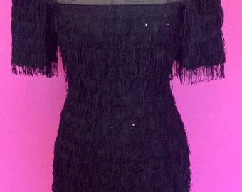 Stunning vintage 1960's fringed sparkly 100% silk and lace party dress