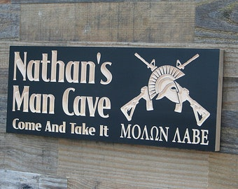 Molon Labe Sign, Custom Man Cave Sign, Come and Take it, Guy Gift, Gun Room Sign, Man Cave Sign, Garage Sign, Benchmark Signs, Maple CA