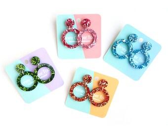 Glitter Hoop Earrings -Rosy Pink - Blue Earrings - Acrylic Earrings - Laser Cut Jewellery