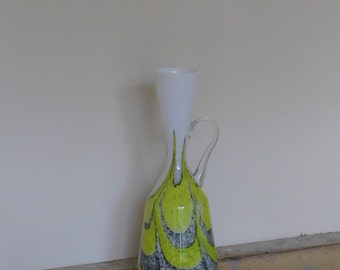 Decorative Yellow, White and Grey Pitcher / Vase