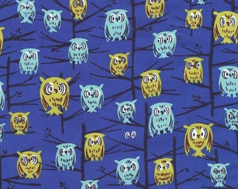 Tammis Keefe Tribute Night Owl blue Michael Miller fabric FQ or more *WASHED*