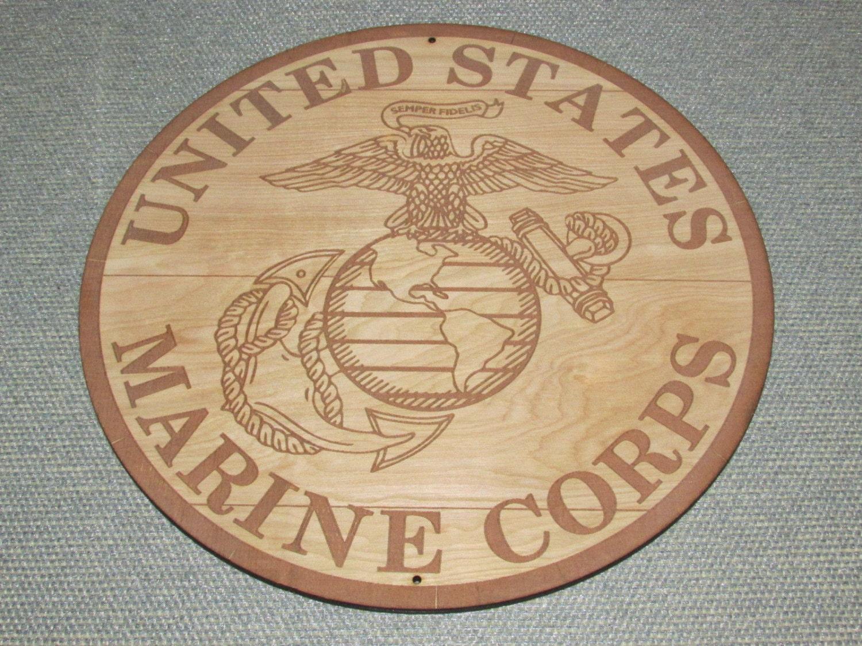 USMC Marine Corps LOGO Engraved Wood Wall Art Decor Barrel Top