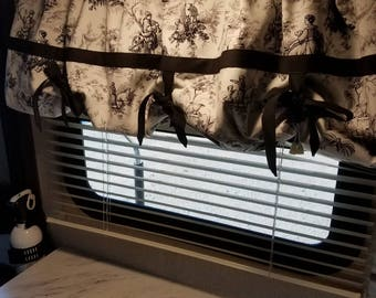 Black Toile with thick trim curtains