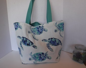 Sea Turtle Tote, Reversible, Outdoor fabric