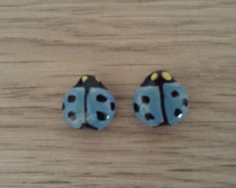 Sold 2 x hand painted Ladybug ceramic beads