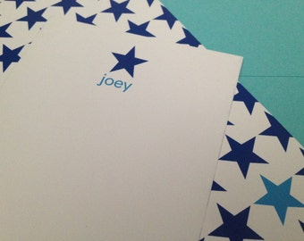 "multi star print notecard (navy blue), set of 25, 4"" W x 9.25"" H"