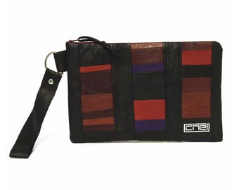 Black Clutch, Patchwork Leather, OOAK, Patchwork Handbag, Red and black bag, Gift for her