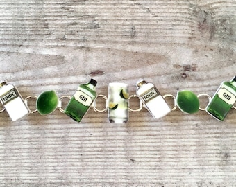 Gin lover gift - Gin and tonic - Charm bracelet - Gin jewellery - Gin gift - Gin lover - Gift for her - Mother's Day