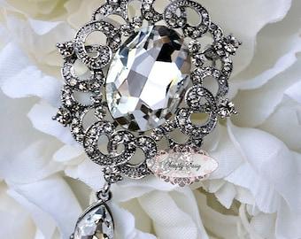 Rhinestone Brooch Embellishment - Flatback Rhinestone Brooch - Brooch Bouquet - Jewelry - Wedding - DIY - Supply - Broach - RD265