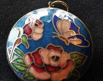 Vintage Floral Butterfly Cloisonne Pendant