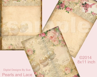 Instant Download - Pearls and Lace Paper Pack -  Printable Digital Collage Sheet - Digital Download