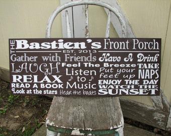 Custom Horizontal Family Porch Rules Name Board Sign