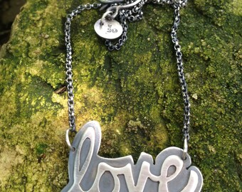 Love necklace sterling silver love necklace handwriting necklace sterling silver handwritten necklace Metalsgirl
