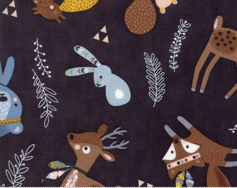 Wild and Free - Woodland Critters in Midnight by Abi Hall for Moda - 35311 12