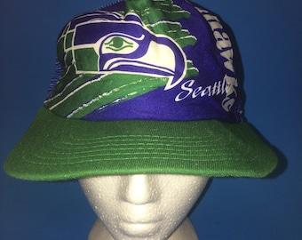 Vintage Seattle Seahawks Trucker SnapBack Hat Adjustable 1980s brim needs a tiny bit of reshaping