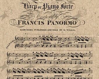 Vintage image Antique music notes Instant Download Digital printable clipart graphic - scrapbooking,decoupage,burlap,kraft, etc HQ 300dpi