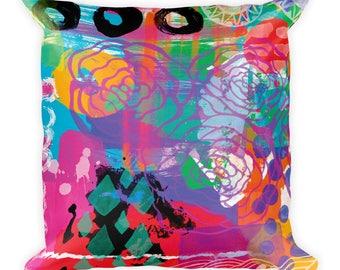 """Boho Chic Roses Digital Painting Bold Colors Colorful All Over Print 18"""" Square Pillow"""