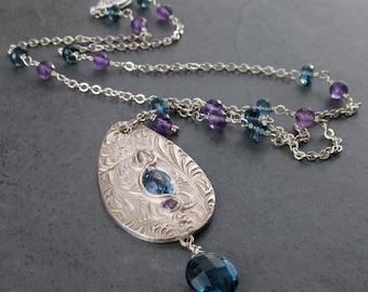London blue topaz necklace, handmade eco friendly fine silver jewelry-OOAK Victorian teardrop medallion necklace
