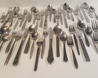 MCM Mismatched Silverware Single Item, Set of 4, or set of 5 // Retro Stainless Steel Flatware // Mid Century Modern or Boho design utensils