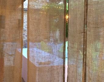 Rustic sheer burlap curtains  Valance Larger Shabby Country Cottage Rustic Window Valance Custom Sizes Burlap Curtain Panels