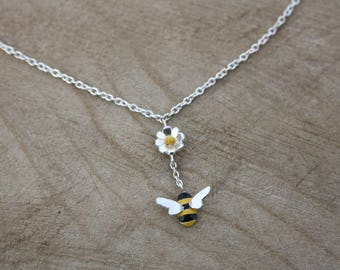 Handmade Enamelled Bee Necklace, Sterling silver with daisy, bridesmaids jewellery
