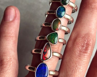SALE: Sterling silver rings with Australian opal doublets