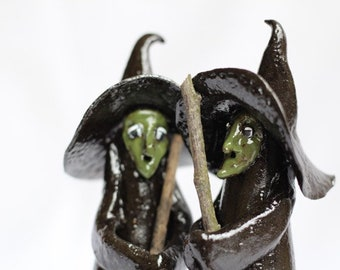 Kitchen Witch - Ceramic Gift for Good Luck in New Home. Clay Housewarming Present