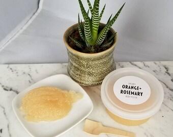 Orange + Rosemary Body Polish with Aloe Vera - Organic Sugar Scrub with Epsom Salt
