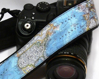 World Map Camera Strap. Blue Camera Strap. DSLR Camera Strap. Personalized Camera Strap, Personalized Gift for photographer