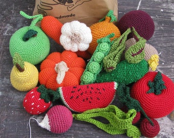 Set of crochet vegetables and fruits