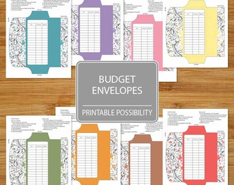 Cash Envelopes Set of 8  - Printable Budget Envelopes Floral Pattern - Budgeting Envelopes - Set of Envelopes with Flower Pattern