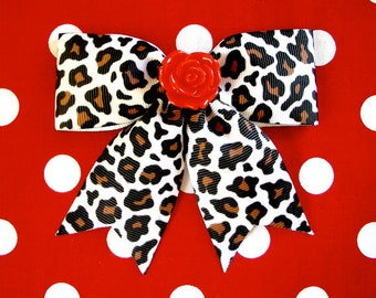 Psycho Red Rose White Leopard Hair Bow - Psychobilly - Retro - Rockabilly - 50s