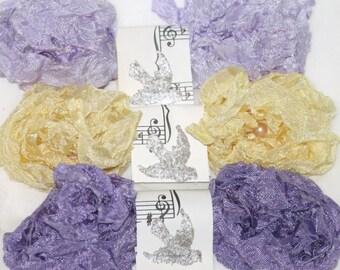Seam Binding  -  18 YARDS - FRENCH MACARONS -  Crinkled , Lavender  Ribbon - Lilac Ribbon  - Yellow Ribbon -  Purples