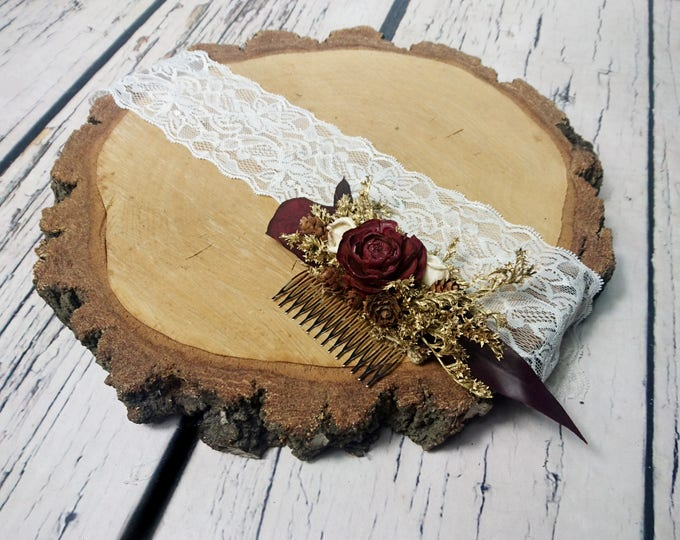 Burgundy and gold hair comb with cedar rose, preserved eucalyptus and dried flowers