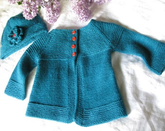 Hand Knitted Teal Baby Girl's Cardigan Sweater and Matching Beanie