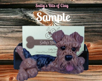 Airedale Terrier dog Business Card Holder / Iphone / Cell phone / Post it Notes OOAK sculpture by Sally's Bits of Clay